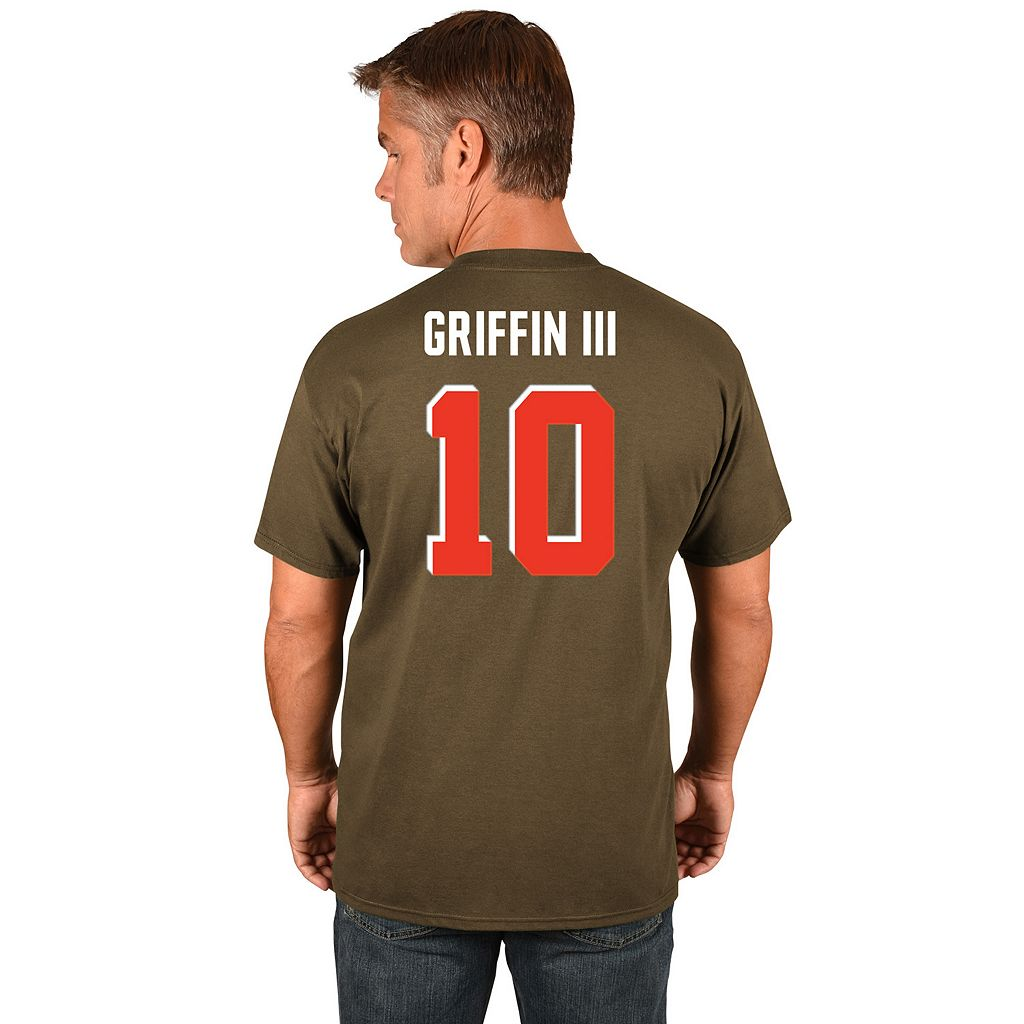 Men's Majestic Cleveland Browns Robert Griffin III Name and Number Tee