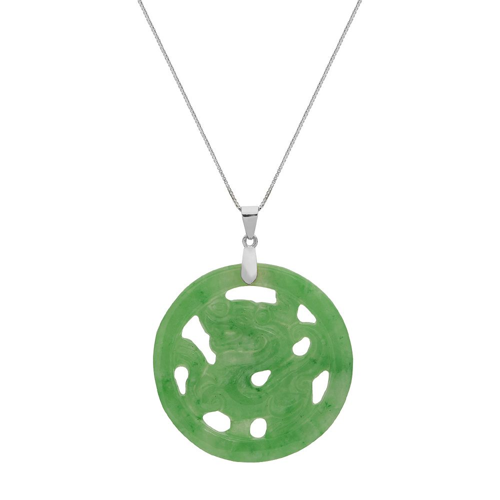 Pearlustre by imperial sterling silver jade circle pendant mozeypictures Choice Image