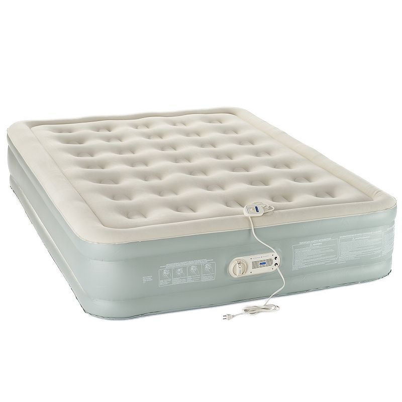 AeroBed 16-inch Queen Air Mattress, Grey Sleep like a queen on this comfortable AeroBed 16-inch queen air mattress. In gray.Features 78  x 60  x 16  Built-in pump One touch inflation with pump control wand Three minute inflation time Easy deflation with quick release valve Carry bag included Construction & Care PVC vinyl, metal, polyester Spot clean Manufacturer's 2-year limited warrantyFor warranty information please click here Imported Color: Grey. Material: No Cover.