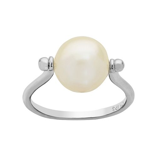 PearLustre by Imperial Sterling Silver Freshwater Cultured Pearl Spin Ring