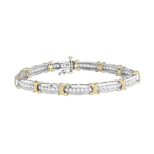 Two Tone Sterling Silver Lab-Created White Sapphire X Bracelet