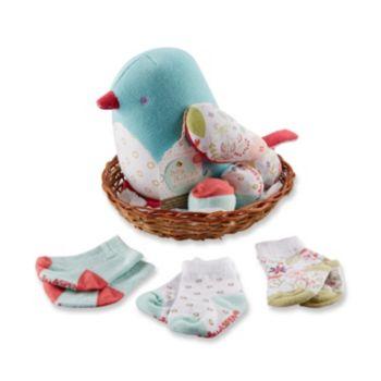 Baby Aspen Bitsy Bluebird Plush Bird & 3-pk. Socks Gift Set