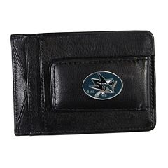 San Jose Sharks Black Leather Cash & Card Holder