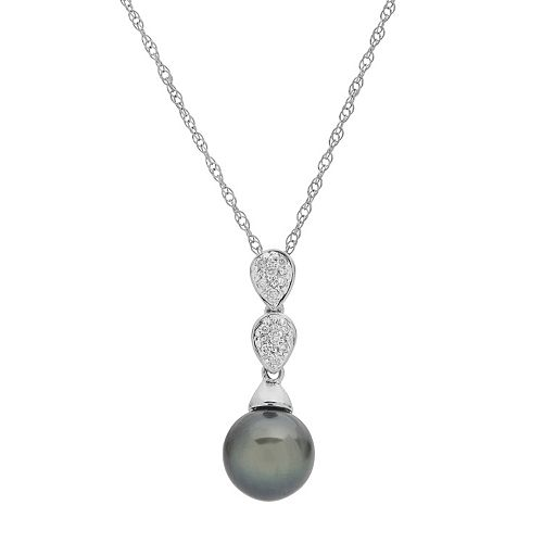 PearLustre by Imperial 14k White Gold Tahitian Cultured Pearl & Diamond Accent Pendant