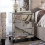 Baxton Studio Mirrored 3-Drawer Nightstand