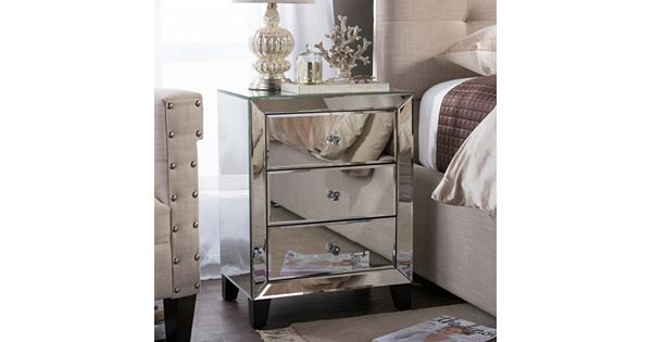 Baxton Studio Mirrored 3 Drawer Nightstand