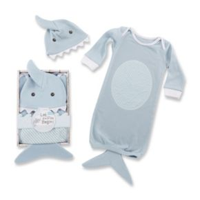 Baby Aspen Let the Fin Begin Blue Sleeper Gown & Cap Layette Gift Set