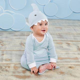 Baby Aspen Let the Fin Begin Blue Sleeper Gown & Cap Layette Gift Set