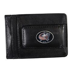 Columbus Blue Jackets Black Leather Cash & Card Holder