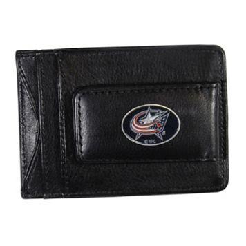 Columbus Blue Jackets Black Leather Cash & Card Holder