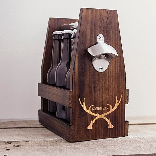 "Cathy's Concepts ""Groomsman"" Antlers Wooden Craft Beer Carrier"