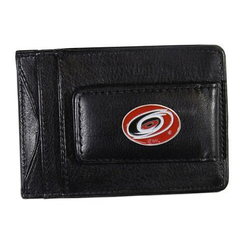 Carolina Hurricanes Black Leather Cash & Card Holder