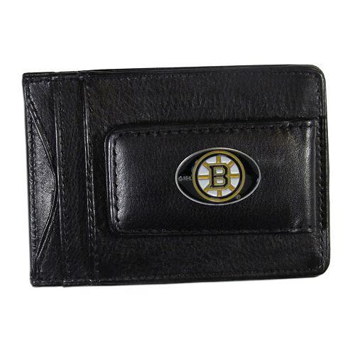 Boston Bruins Black Leather Cash & Card Holder