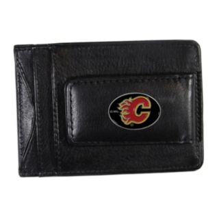 Calgary Flames Black Leather Cash & Card Holder
