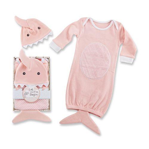 Baby Aspen Let the Fin Begin Pink Sleeper Gown & Cap Layette Gift Set