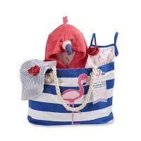 Baby Aspen Fun in the Sun 4 pc Flamingo Canvas Tote Gift Set
