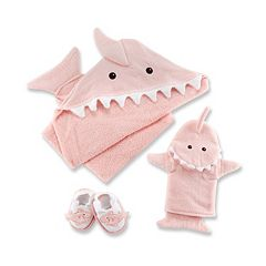 Baby Aspen Let the Fin Begin 3 pc Hooded Towel Bathtime Gift Set