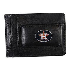 Houston Astros Black Leather Cash & Card Holder