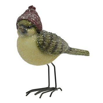 Red Hat Glitter Bird Table Decor