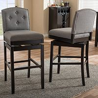 Baxton Studio Ginaro Swivel Bar Stool 2 pc Set