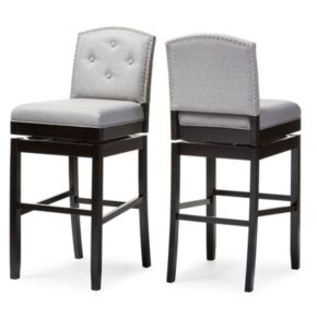 Baxton Studio Ginaro Swivel Bar Stool 2-piece Set
