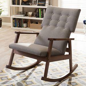Baxton Studio Mid Century Upholstered Rocking Chair