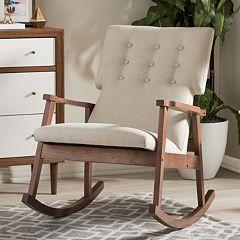 Baxton Studio Agatha Mid-Century Modern Tufted Rocking Chair