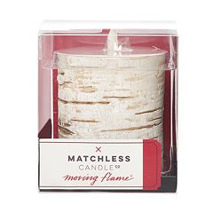 Matchless Candle Co. Moving Flame® 3.25'' x 4.5'' Faux Birch Flameless LED Candle