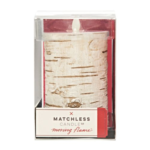 """Matchless Candle Co. Moving Flame® 3.25"""" x 6"""" Faux Birch Flameless LED Candle"""
