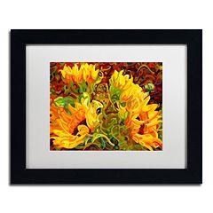 Trademark Fine Art Four Sunflowers Black Framed Wall Art