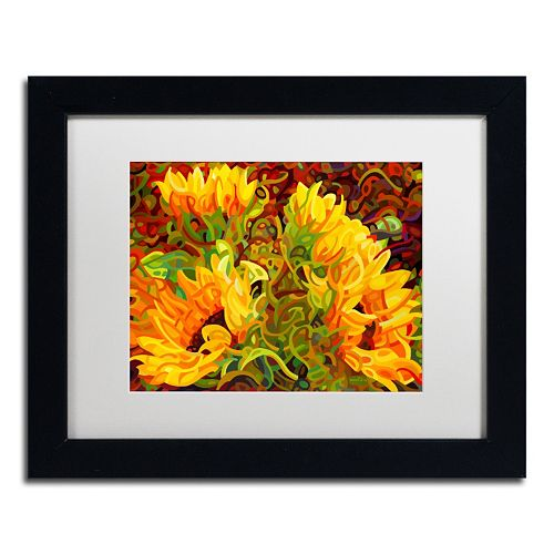 Trademark Fine Art Four Sunflowers Black Framed Wall Art