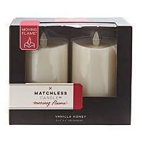 Matchless Candle Co. Moving Flame® 3'' x 4.5'' Vanilla Honey Flameless LED Candle 2-piece Set