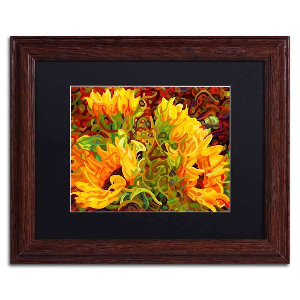 Trademark Fine Art Four Sunflowers Wood Finish Framed Wall Art