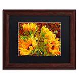 Trademark Fine Art Four Sunflowers Wood Finish Framed Wall Art