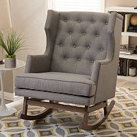Baxton Studio Iona Mid-Century Modern Wingback Tufted Rocking Chair