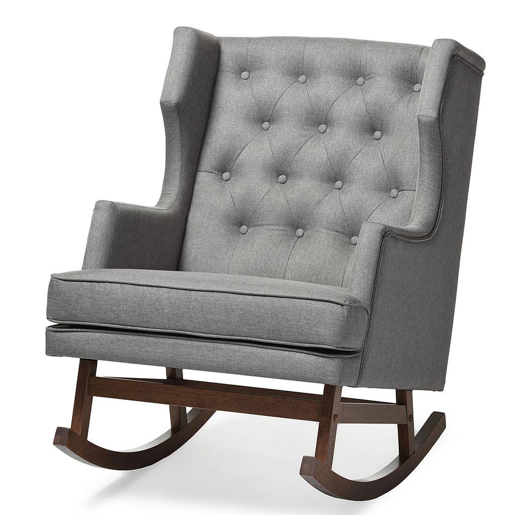 Baxton Studio Iona Mid-Century Modern Wingback Tufted Rocking Chair