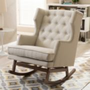 Baxton Studio Iona Mid-Century Modern Wingback Rocking Chair