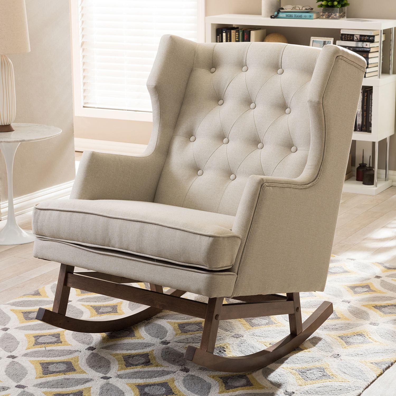 Baxton Studio Iona Mid Century Modern Wingback Rocking Chair