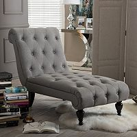 Baxton Studio Layla Mid-Century Modern Chaise Lounge