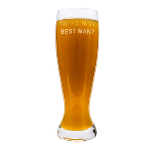 """Cathy's Concepts 54-oz. """"Will You Be My Best Man?"""" XL Pilsner Glass"""