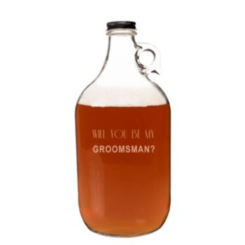 """Cathy's Concepts 64-oz. """"Will You Be My Groomsman?"""" Craft Beer Growler"""