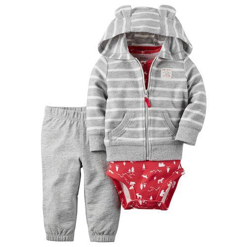 Baby Boy Carter's Striped Fleece Cardigan, Bodysuit & Pants Set
