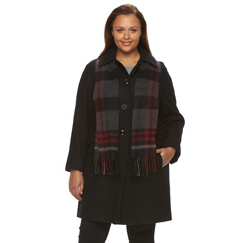 0bb4979c38bf6 Plus Size Towne by London Fog Wool-Blend Coat