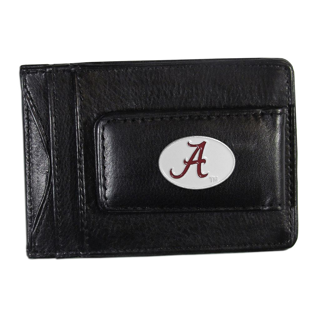 Alabama Crimson Tide Black Leather Cash & Card Holder