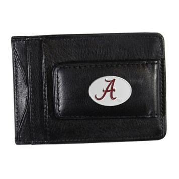 Alabama Crimson Tide Black Leather Cash & Card Holder