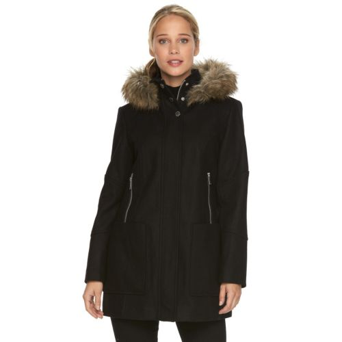Towne by London Fog Faux-Fur Hooded Wool Blend Coat