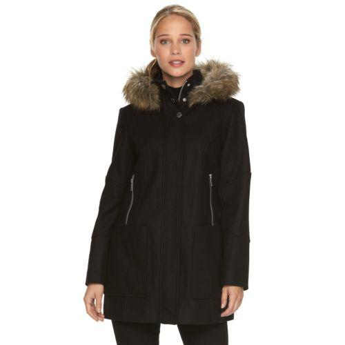 Towne by London Fog Faux-Fur Hooded Wool Blend Coat