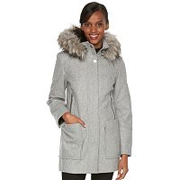 Women's Towne by London Fog Faux-Fur Hooded Wool Blend Coat