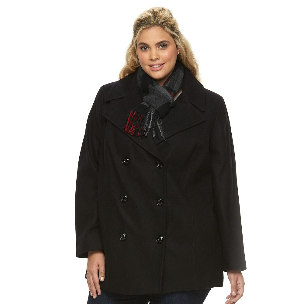Size Towne by London Fog Double-Breasted Peacoat with Scarf