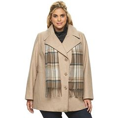 Plus Size Towne by London Fog Double-Breasted Peacoat with Scarf
